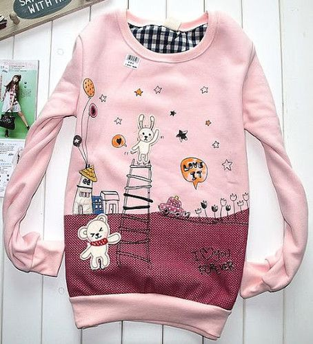 Teenage Girls Lovely Bunny Bear Cartoon Cotton Crew Sweatshirt Top Pink Jumper | eBay