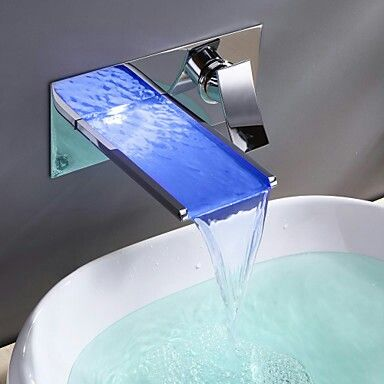 Bathroom Sink Faucet With Color Changing Led Waterfall Faucet Wall Mount 00116633 157 50 Bathroom Sink Faucets Waterfall Faucet Sink