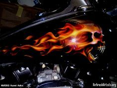 motorcycles with skulls and flames | Flame Skulls