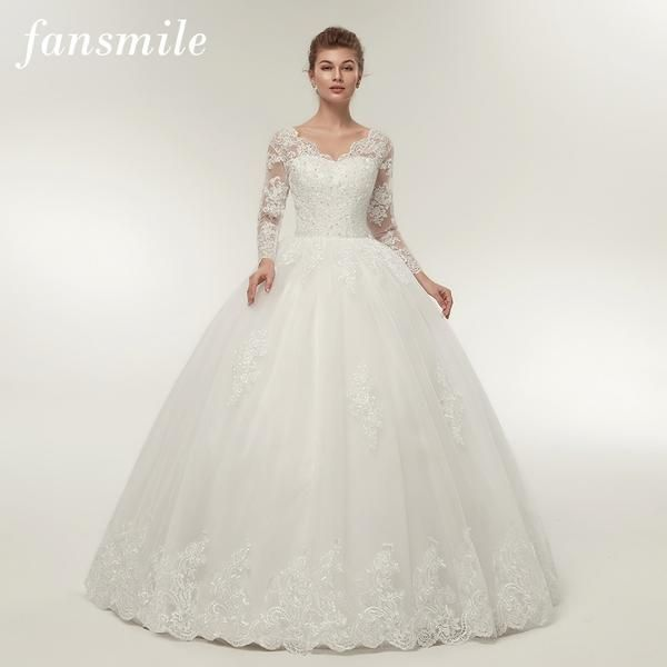 67ddbe4cdc391 Fansmile Quality Vintage Lace Up Wedding Dresses Long Sleeve 2019 ...