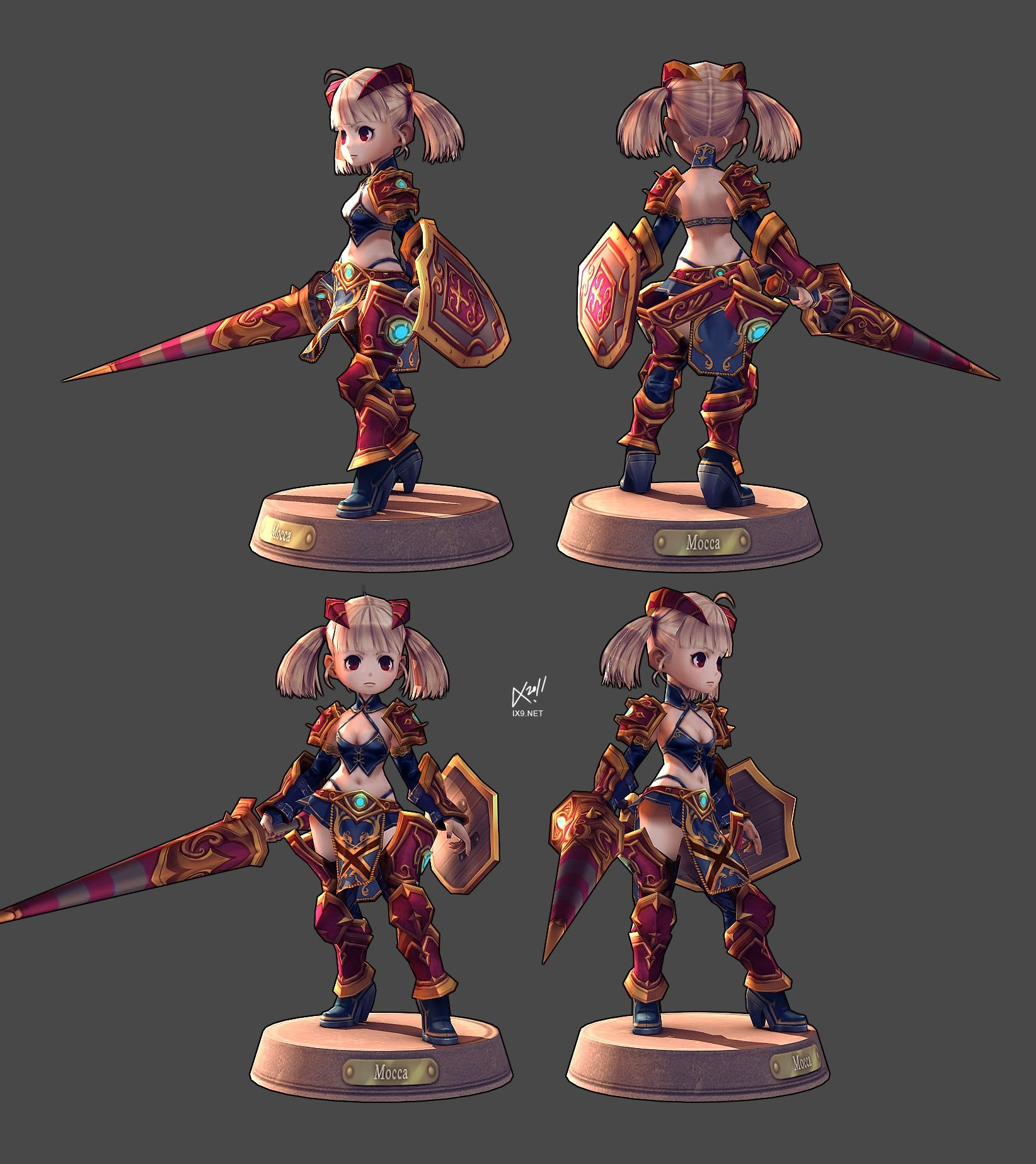 This is a very beautiful 3D low poly model! 캐릭터 아트