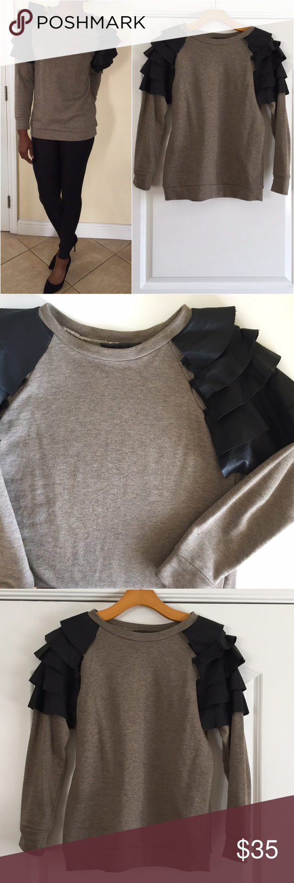 Leather Ruffle Sleeve Pullover Long sleeve french terry sweat shirt. Olive color with black faux leather panels on shoulder. Worn twice. No rips, pilling or discoloration. In excellent condition. Tov Holy G Inc Tops Sweatshirts & Hoodies
