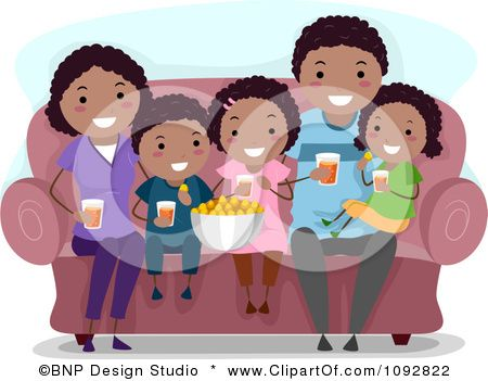 Clipart Happy Black Family Watching A Movie At Home And Eating Snacks Royalty Free Vector Illustration By Bnp Free Vector Illustration Illustration Clip Art