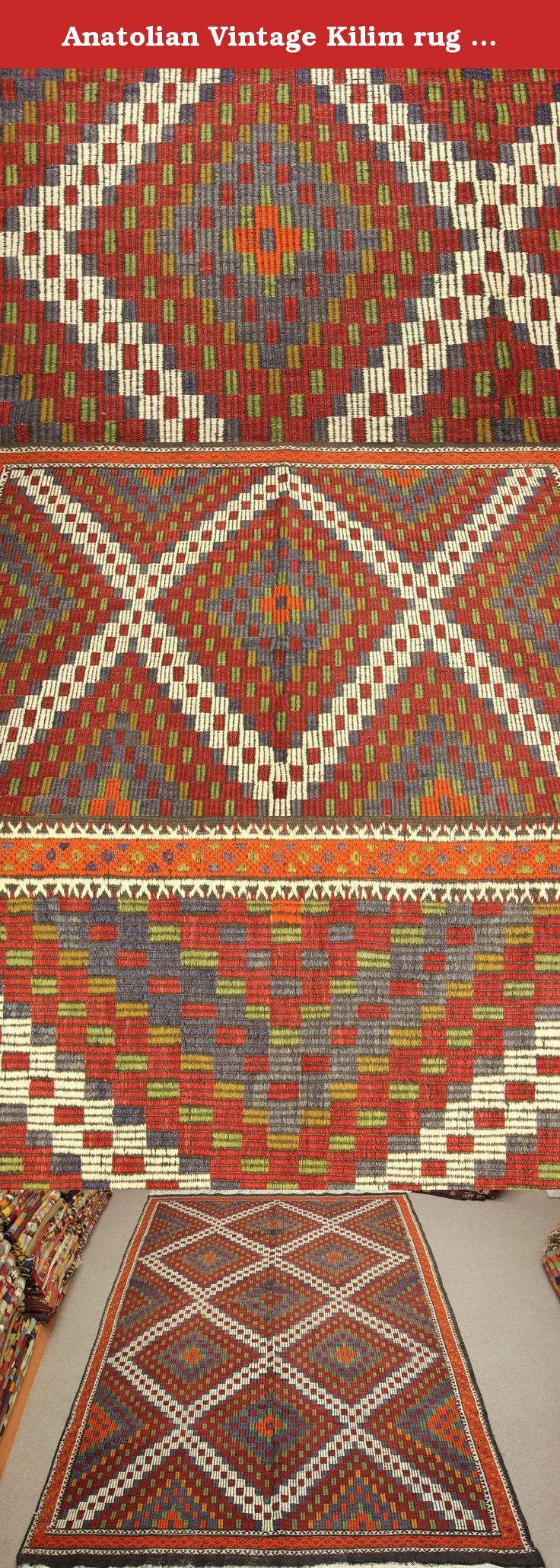 Anatolian Vintage Kilim rug 10,4x6,3 feet Area rug Cicim rug Organic Kilim Rug Natural kilim rug Bohemian Kilim Rug Ethnic Rugs. Turkish hand woven vintage unique kilim rug 10,4x6,3 feet / 125x76 inches / 320x195 Cm Origin: Turkey- Mut Material: wool on wool They made from wool on wool or wool on cotton. They are unique and natural dye. These kilim rugs are old and used, we restored items (Every items checked for have damage,hole or wear Then we washed natural shampoo and make repair true...