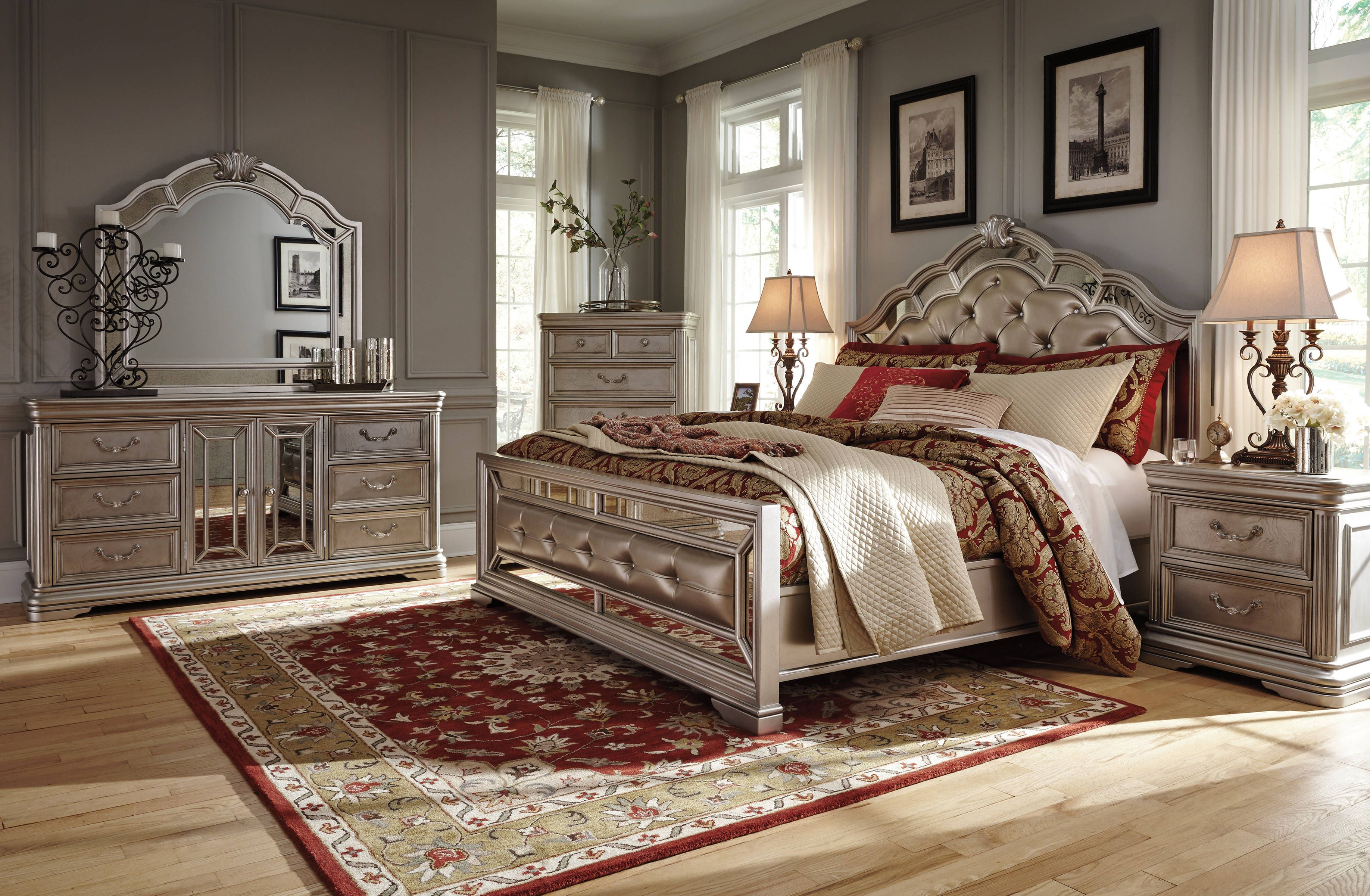 Birlanny Silver Faux Leather Solid Hardwood Master Bedroom