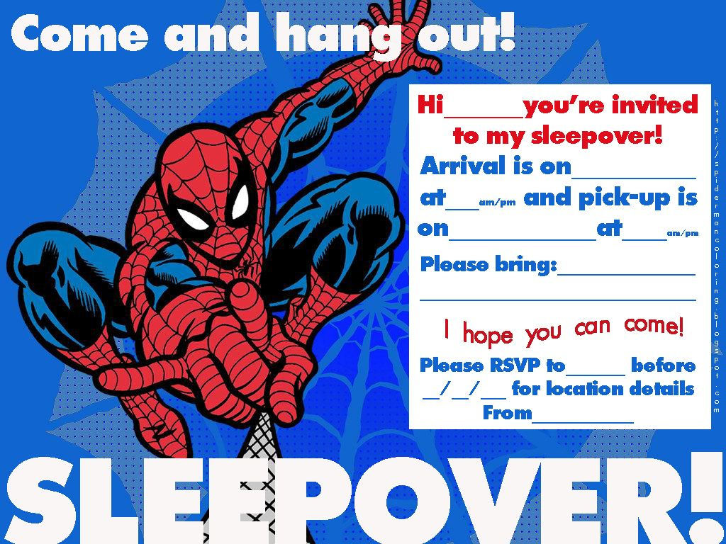 SPIDERMAN COLORING: SPIDERMAN SLEEPOVER INVITATIONS TO PRINT ...