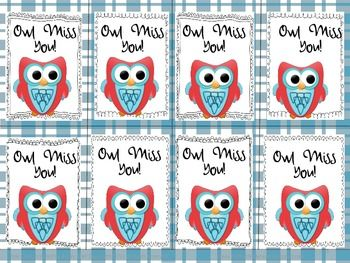graphic about Owl Miss You Printable called Owl Miss out on Oneself Reward Tags Conclusion of calendar year presents Owl skip your self
