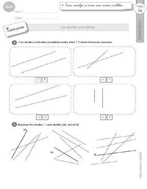 cm1: Exercices les DROITES PARALLELES | Géométrie cm2, Cm2, Cm1