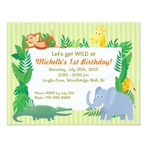 Jungle safari zoo themed birthday invitation card stopboris Image collections