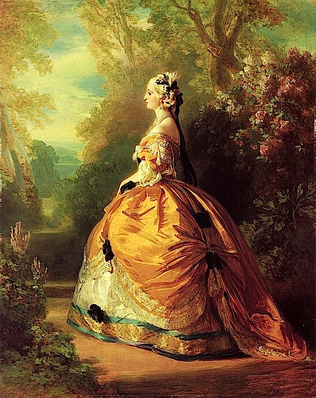 1854 Empress Eugénie à la Marie Antoinette by Franz Xaver Winterhalter (Metropolitan Museum)  Previous Next List Empress Eugénie was fascinated with Marie Antoinette and Winterhalter portrayed her dressed a la Marie Antoinette, in a full round skirt, in this 1854 portrait.