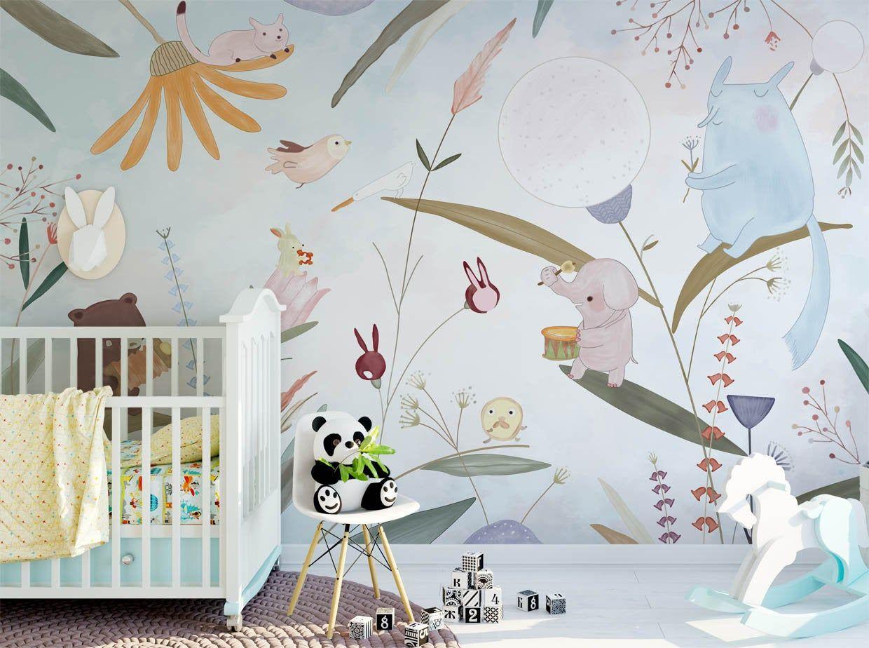 Floral Animal Wallpaper Safari Nursery Wallpaper Removable Etsy In 2021 Safari Nursery Wallpaper Nursery Wallpaper Kids Wall Murals
