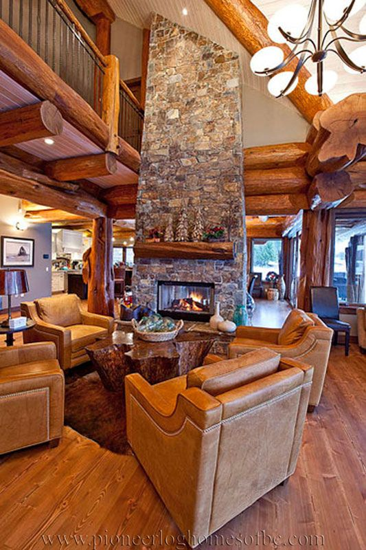 Log Cabin Style Living Room Amp Loft Designs Log Homes