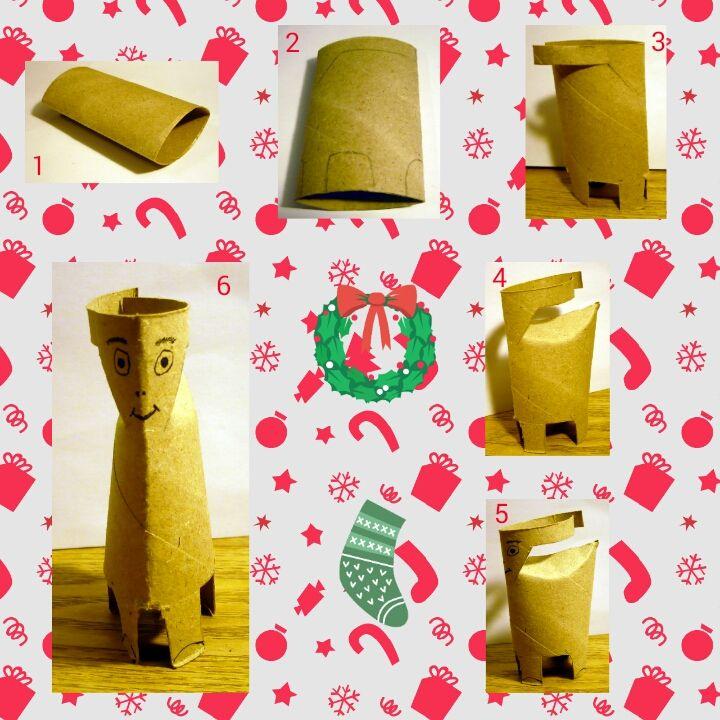 Un renne de Noël à réaliser grâce à un rouleau de papier toilette.