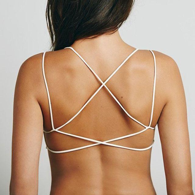 cc3462c1a93ab Women V-NECK Cross Strap Crop Top Lace-up Back Vest Bralet Straps ...