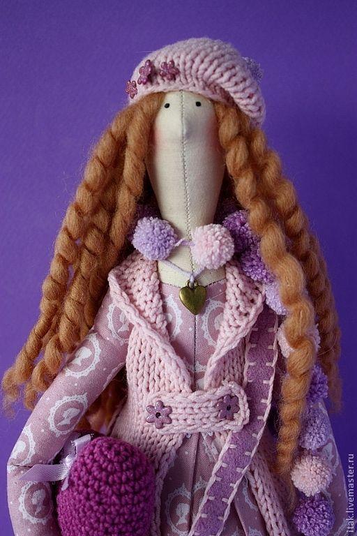 Купить Тилда в лавандовых цветах - сиреневый, тильда, кукла Тильда, кукла в подарок