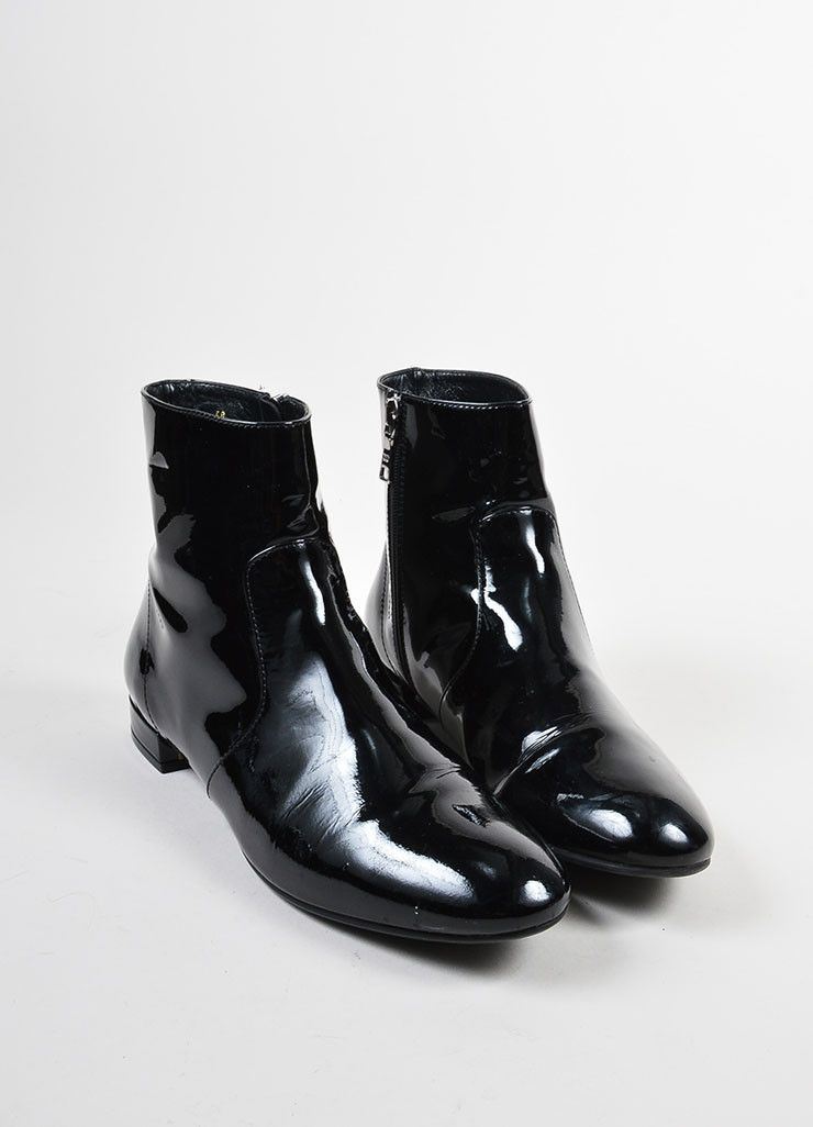 ccf58cdb77e Black Prada Patent Leather Flat Ankle Boots | Boots in 2019 | Boots ...