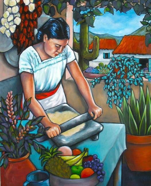 Summer Kitchen By Lorraine Klotz Hispanic Art Mexican Paintings Mexican Artwork