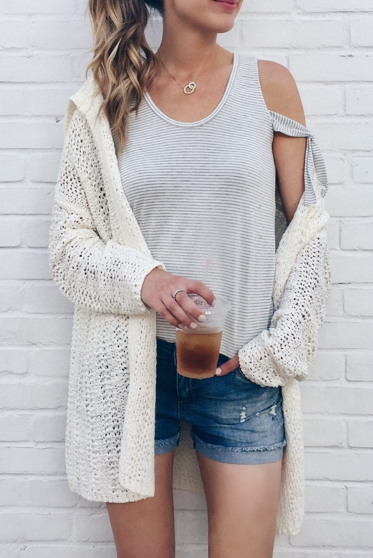 bd151cc261d Summer Sale Outfit - summer cardigan and tank with denim shorts