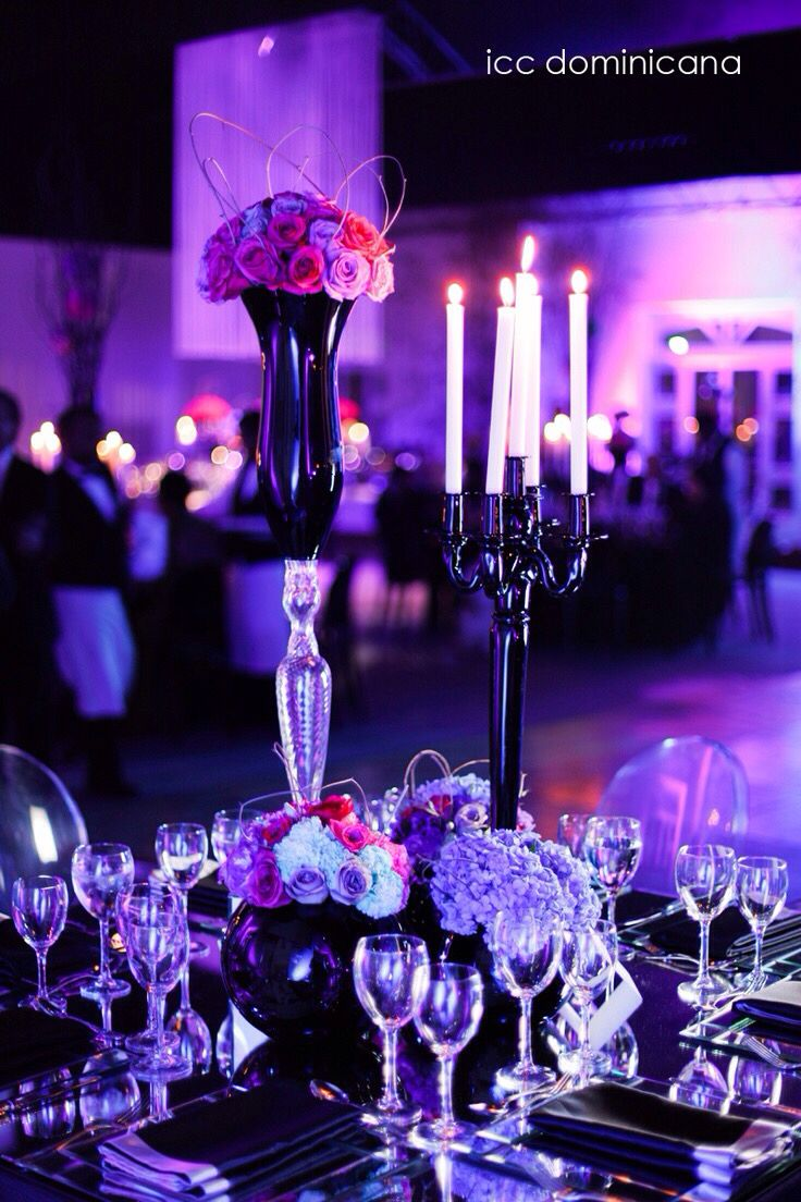 Purple Fuschia And Turquoise Wedding Decoration With Black Details Lighting Idea