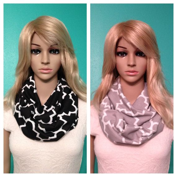 Quatrefoil black and gray infinity scarves, by Beckysscarfshop, $15.00