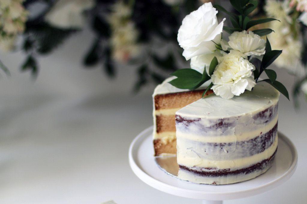 White Chocolate Semi Naked Cake With White Chocolate Ganache Icing
