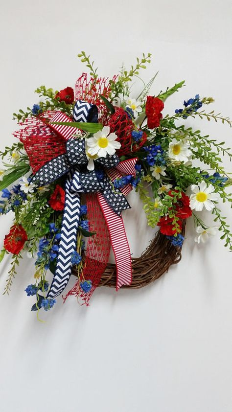 Patriotic Wreath, 4th of July Wreath for front door, Red White & Blue wreath, Americana Wreath, Double door wreath, Summer wreath #doubledoorwreaths