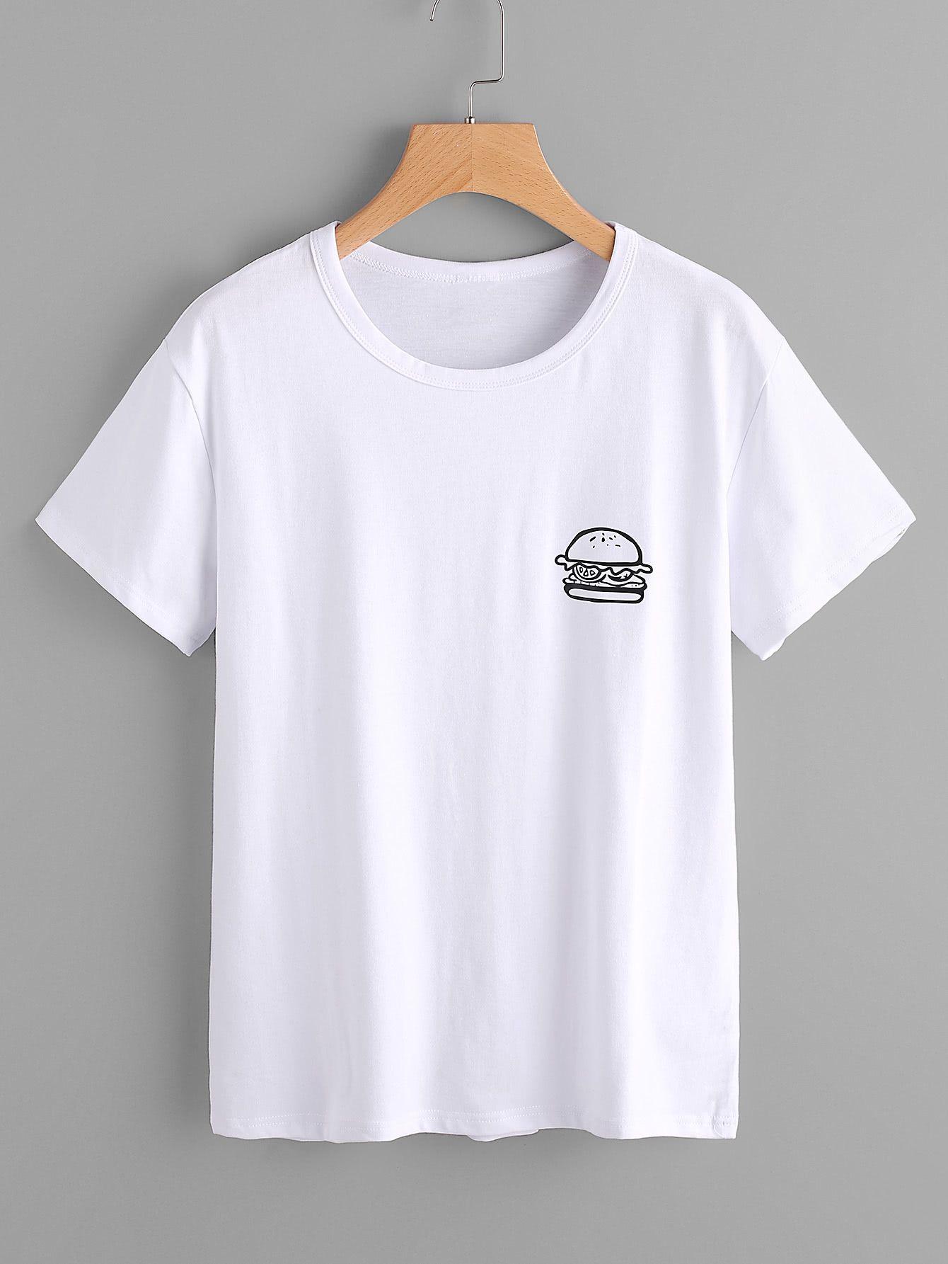online store e1841 7a433 Shop Hamburger Print Tshirt online. SheIn offers Hamburger ...