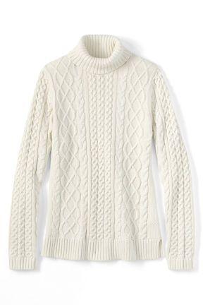 Women's Lofty Blend Aran Cable Turtleneck Sweater from Lands' End