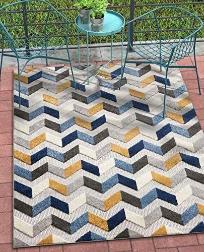 Best New Well Woven Maui Blue Indoor Outdoor Chevron Area Rug 400 x 300