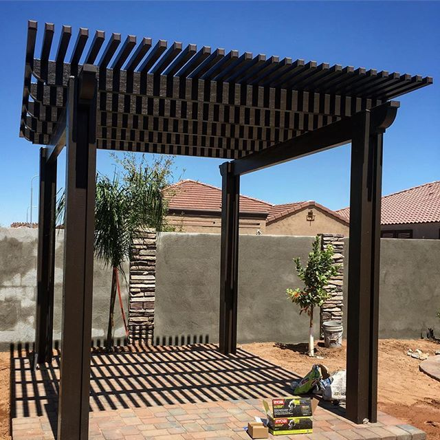 Brown Lattice 2x2 Elitewood Pergola Set On Top Pavers Install