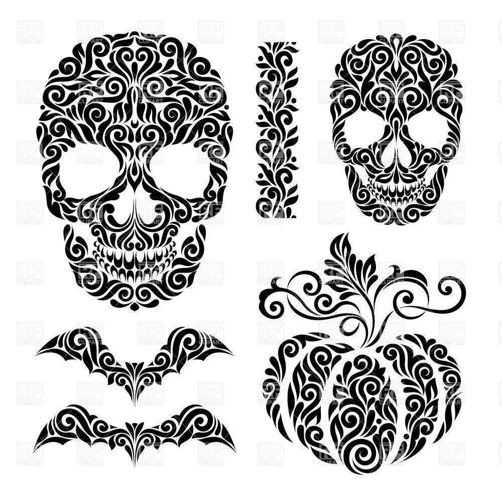 Happy Halloween holidays ornate elements skulls, bats and