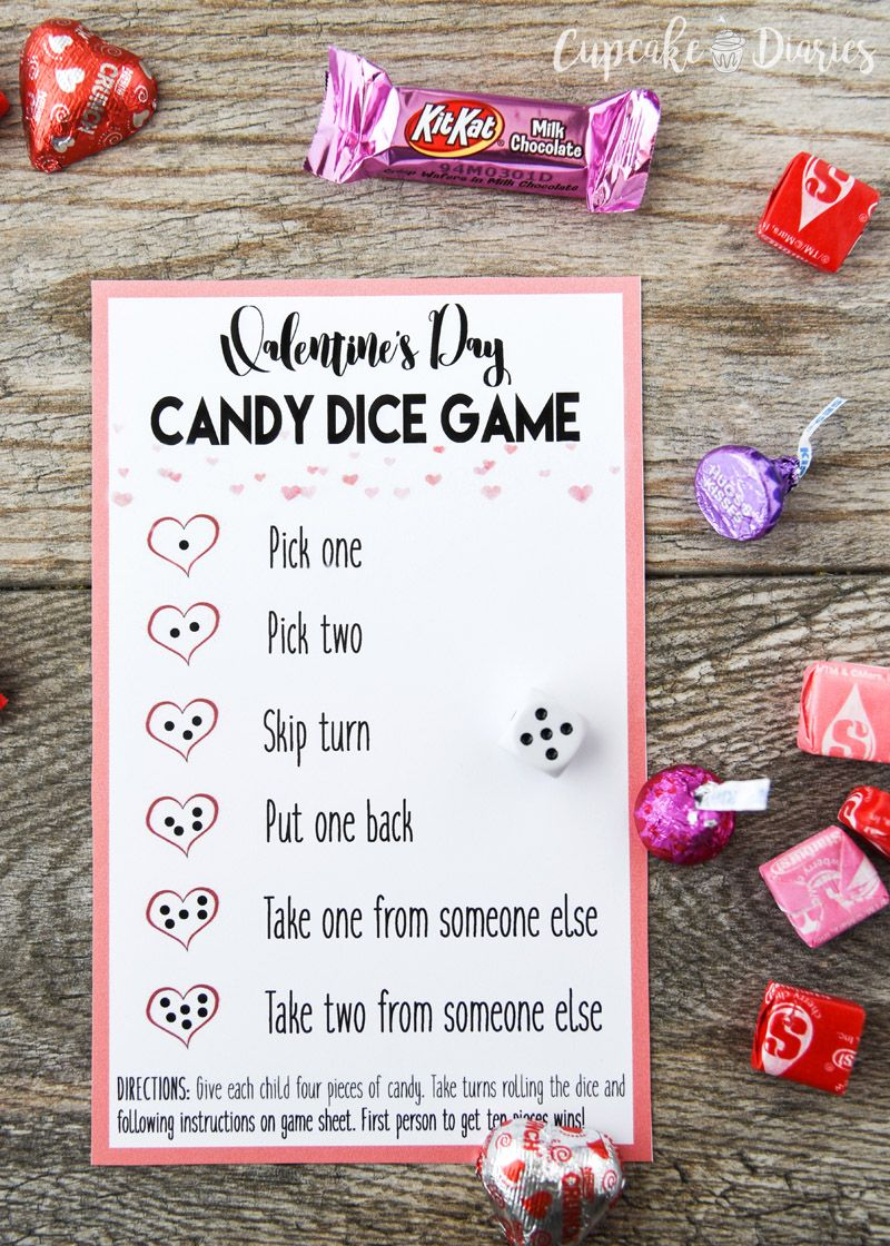 Valentines Day Candy Dice Game Valentines Day Ideas