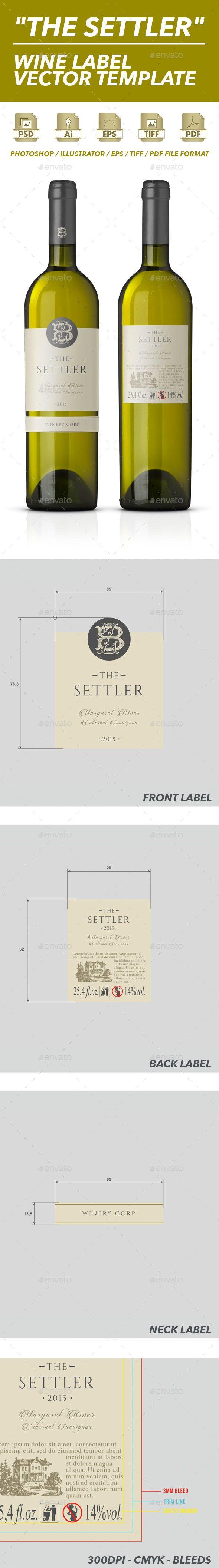 White Wine Label Vector Template   Pinterest   Print templates ...