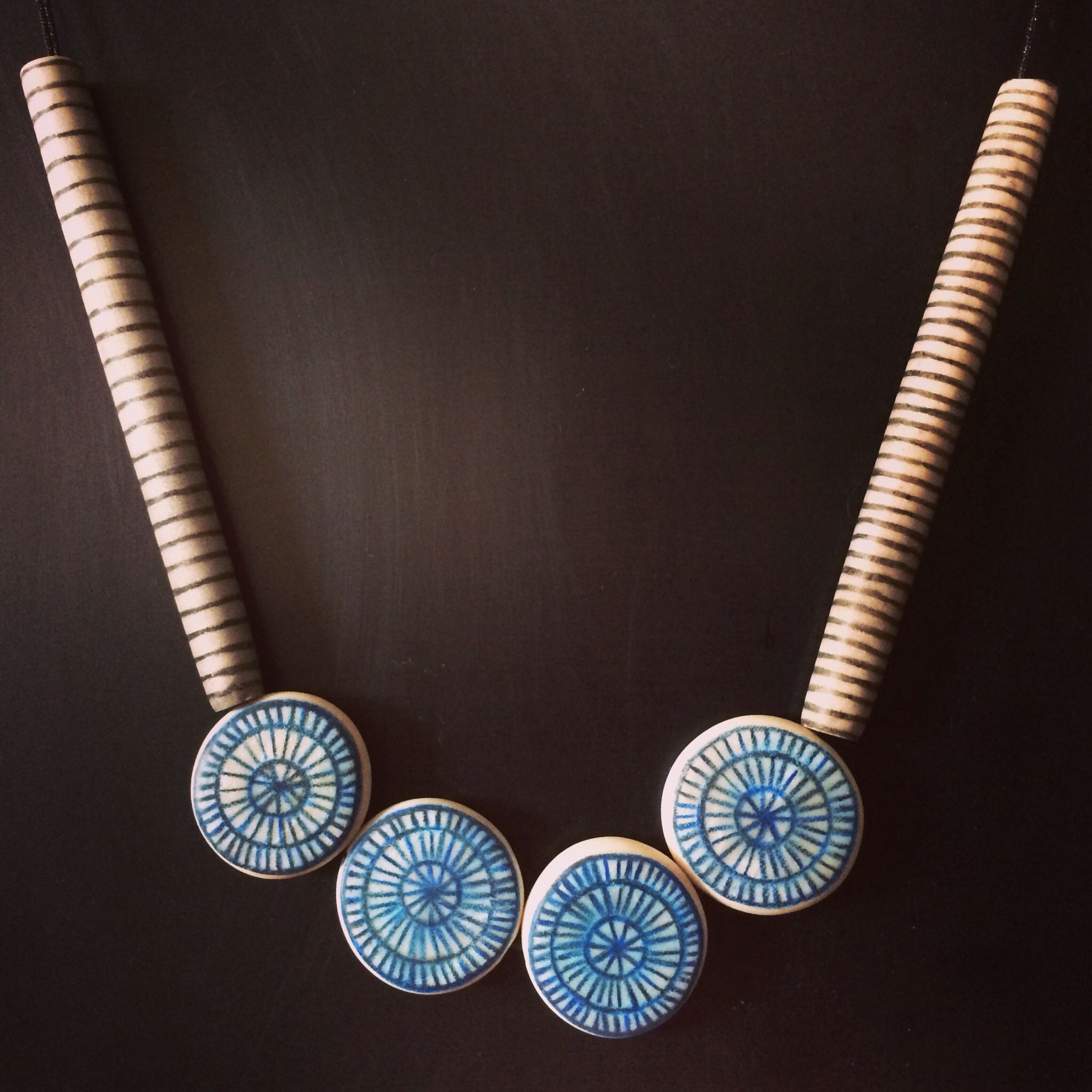 Hand Sculpted And Painted Polymer Clay Necklace
