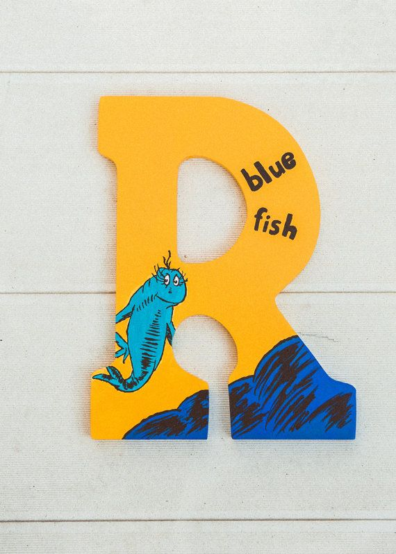 Dr. Seuss Blue Fish Hand Painted Letter by BrooksCustomLetters