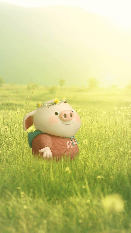 Hình nền chú lợn ngộ nghĩnh cho iphone - hình nền tết Kỷ Hợi cho iphone