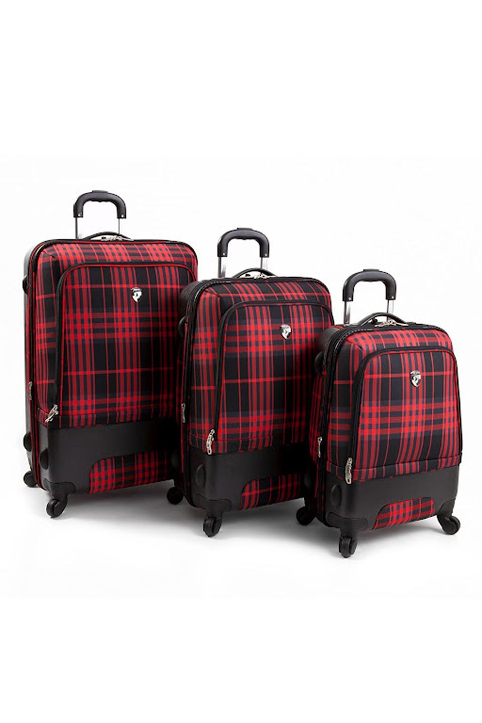 Heys International Plaid Hybrid 3 Piece Luggage Set In Red And Black Beyond The Rack