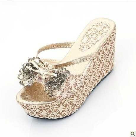 2017 Summer Wedges Rhinestones Beach Wedding Shoes Flip Flops For Bride With Platform