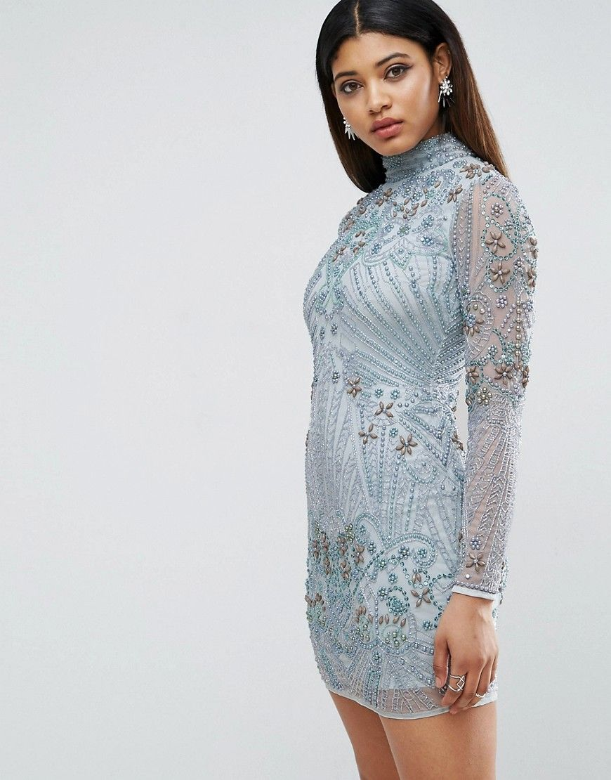 RED CARPET Long Sleeve Pearl Mini Dress | Dress blues and Products