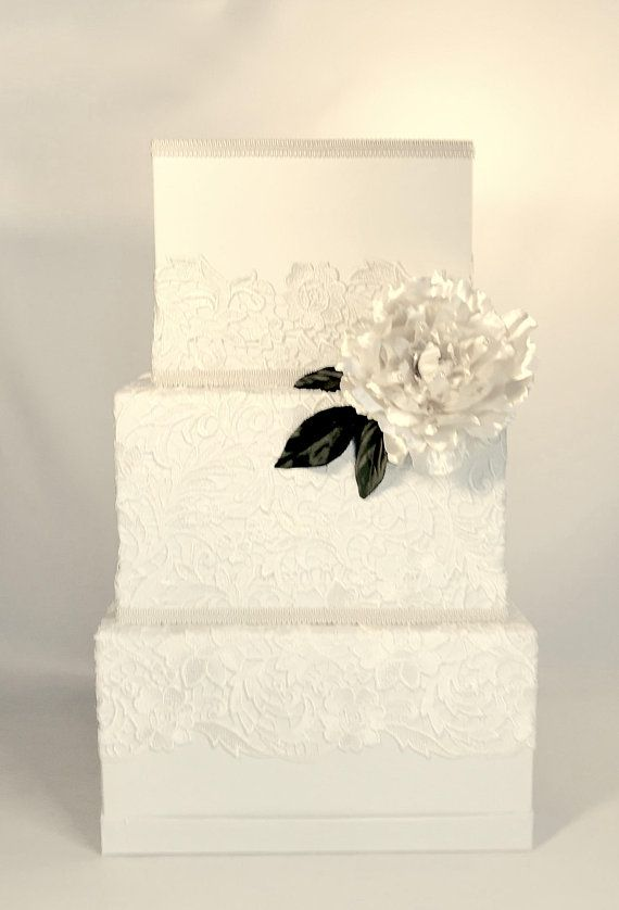 Ivory Lace Wedding Card Box, With Lock, Peony, Romantic, Three Tier ...
