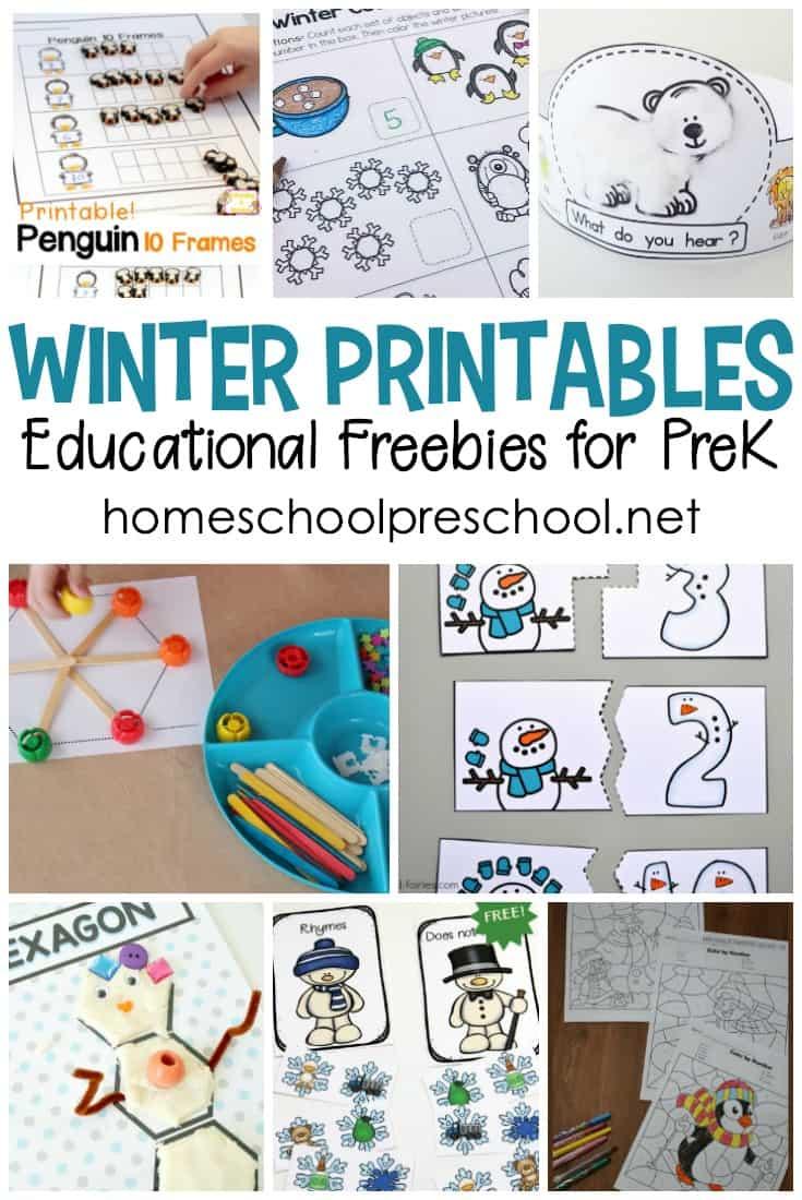 Free Educational Winter Printables For Preschoolers Winter Activities Preschool Winter Math Activities Winter Theme Preschool [ 1100 x 735 Pixel ]