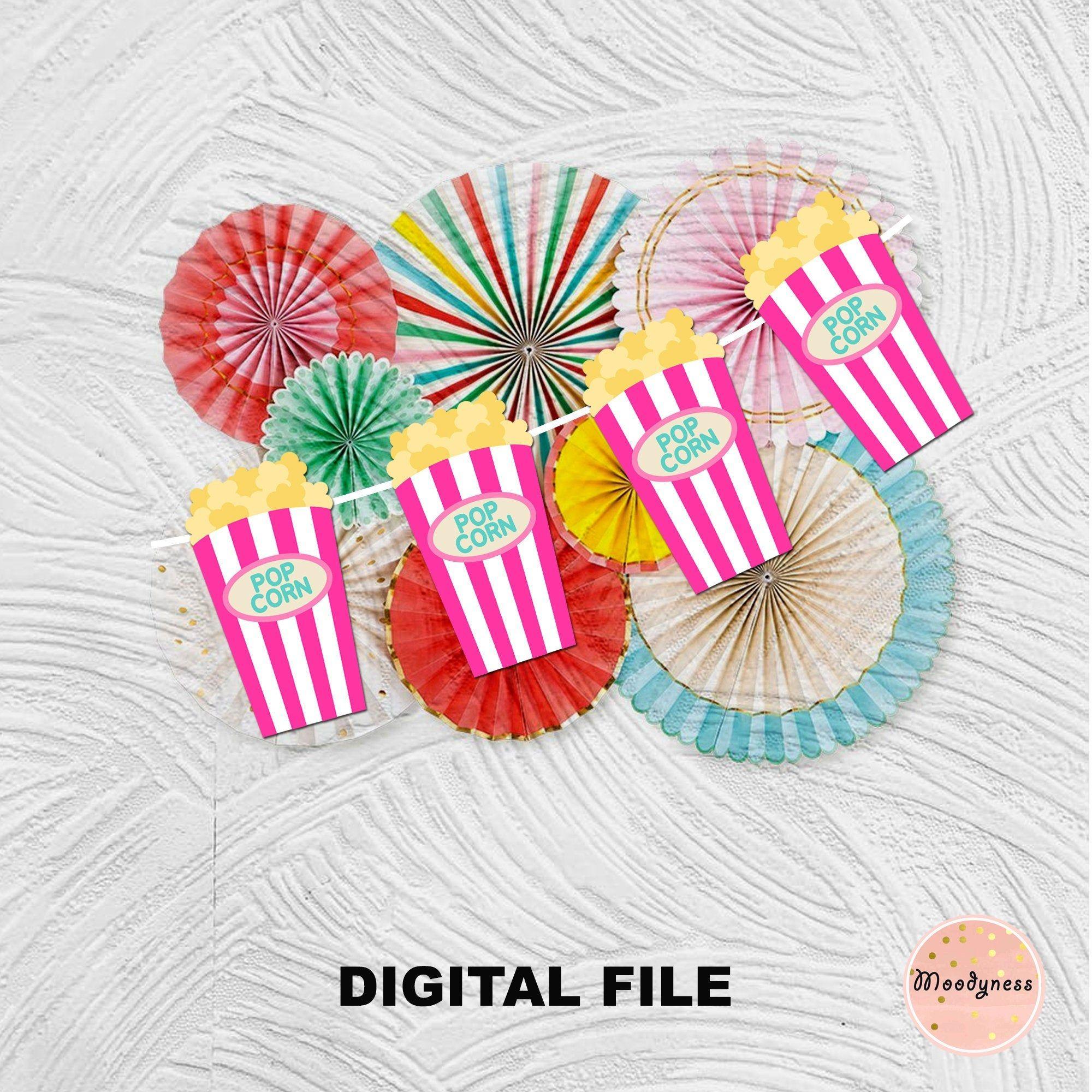 Pink Popcorn decoration Printable pink popcorn banner for