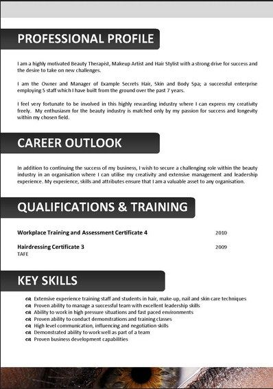 Cosmetology Resume Template  Resume Format Download Pdf
