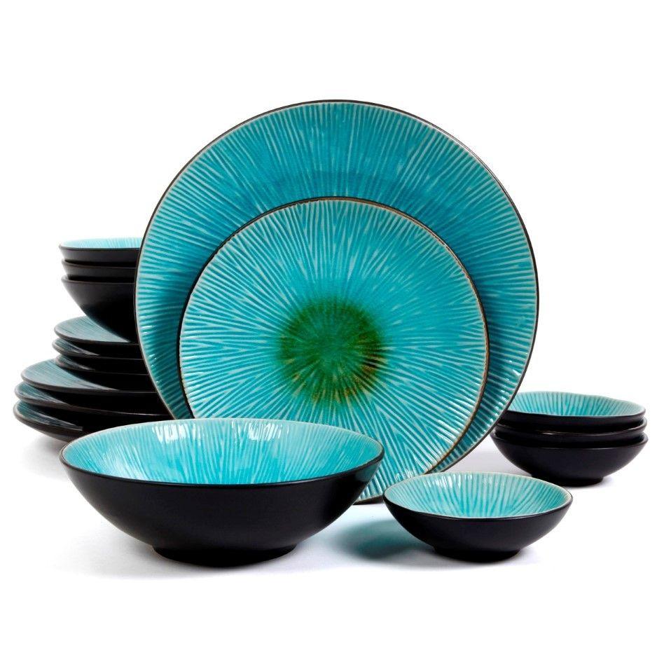 Gibson ShangriLa Court Stoneware Textured Dinnerware Set (Service for  sc 1 st  Pinterest & Gibson Elite Shangri-La Court 16 Piece Double Bowl Set Turquoise ...