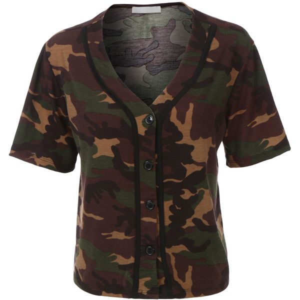 LE3NO Womens Cropped Camo Baseball Button Down T Shirt ($22) ❤ liked on Polyvore featuring tops, camouflage crop top, baseball jerseys, baseball jersey shirts, short sleeve shirts and button down shirts