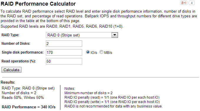Calculate the IOPS performance of your RAID array, or prospective