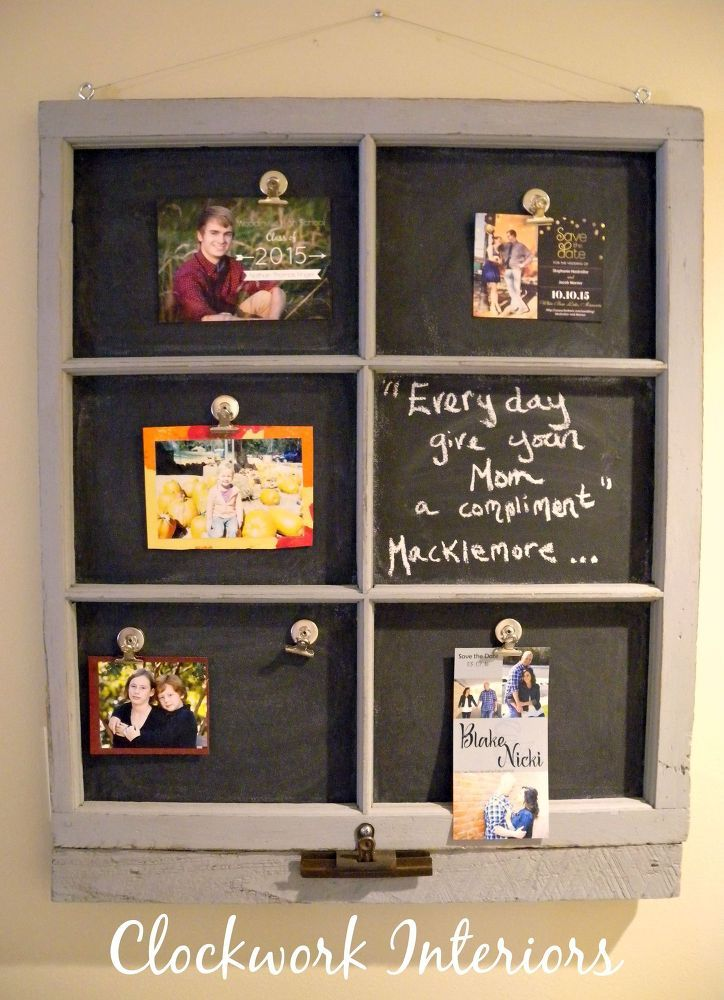 Transforming an Old Window Frame Into a Magnetic Chalkboard | Puerta ...