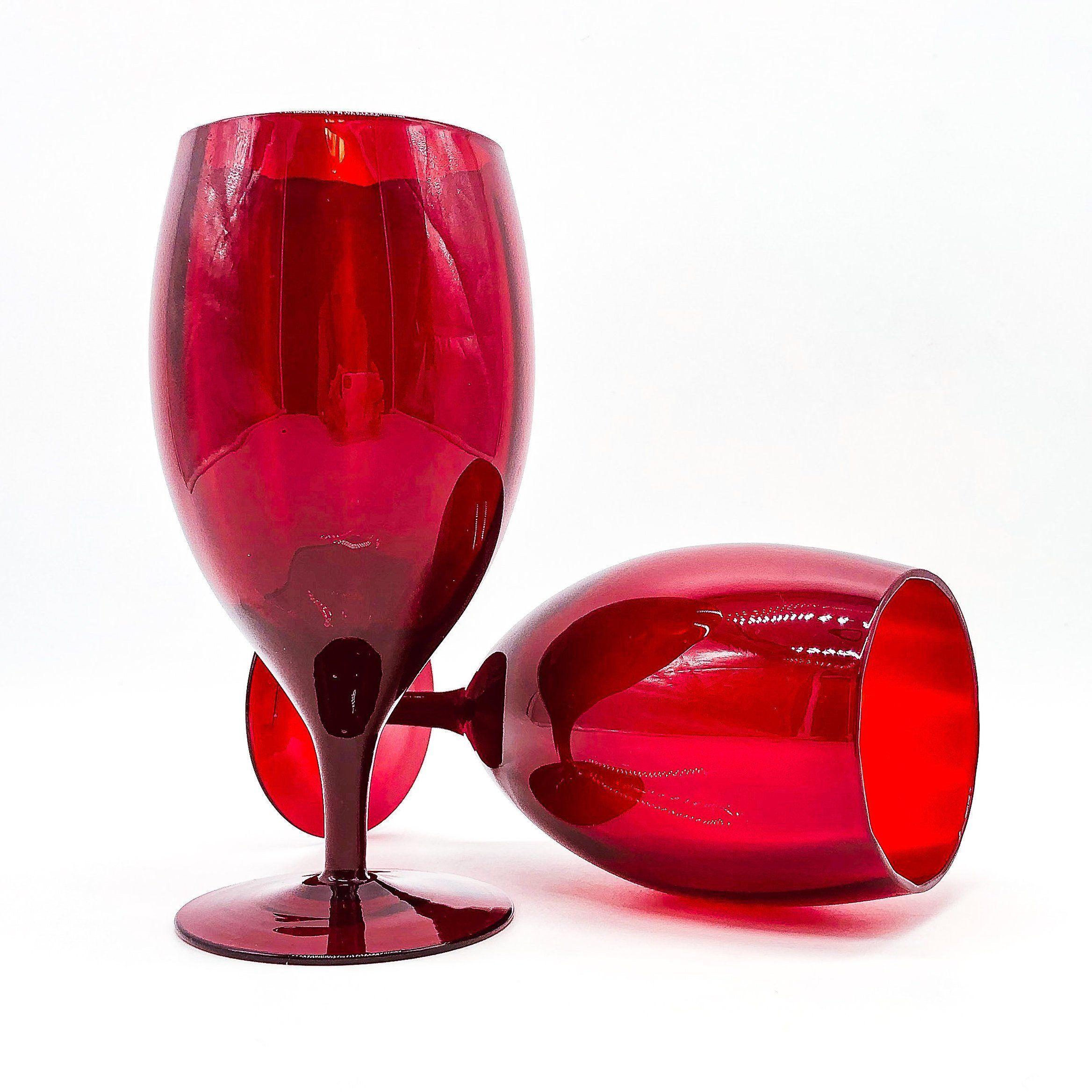 Empoli Goblets Ruby Red Italian Optic Wine Glasses By Thehouseofnostalgia On Etsy Empoli Vintageglassware Rubyredglass Vintage Glassware Goblet Empoli