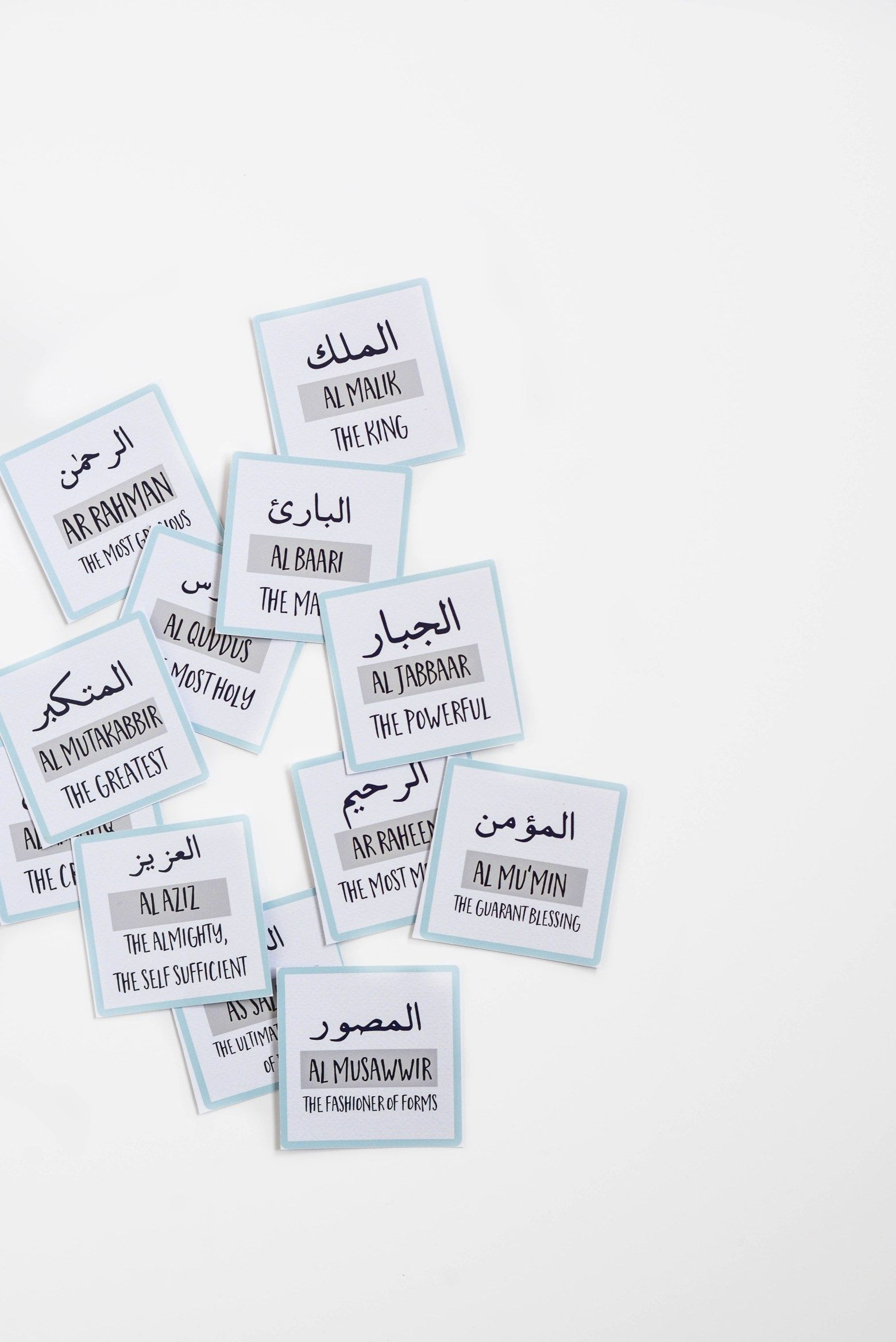 99 Names of Allah Flash Cards – Quote Lovin