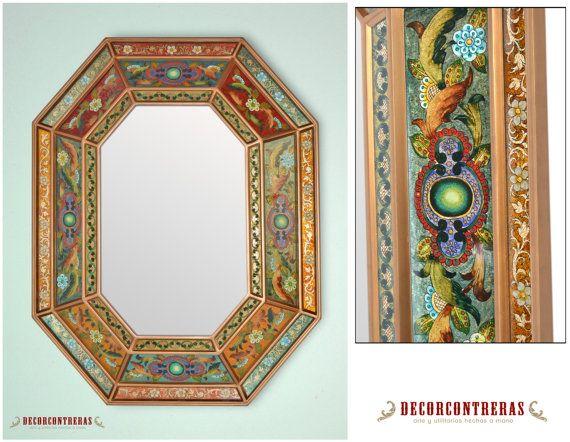 Espejo decorativo hecho a mano colonial por decorcontreras for Ver espejos decorativos